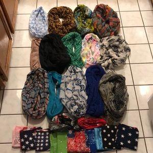 Huge bundle- infinity scarves/headband/bandannas